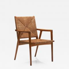 Armchair in Solid Oak and Cane Denmark ca 1960s - 1324228