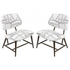 Armless Reupholstered Wood Framed Lounge Chairs - 1083654
