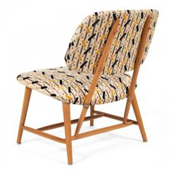 Armless Reupholstered Wood Framed Lounge Chairs - 1083663