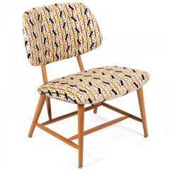 Armless Reupholstered Wood Framed Lounge Chairs - 1083664