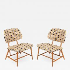 Armless Reupholstered Wood Framed Lounge Chairs - 1084125