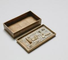 Arnaldo Pomodoro ARNALDO POMODORO CAST SCULPTURAL BRONZE BOX SIGNED II SESTANTE - 1816979