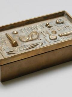 Arnaldo Pomodoro ARNALDO POMODORO CAST SCULPTURAL BRONZE BOX SIGNED II SESTANTE - 1816980