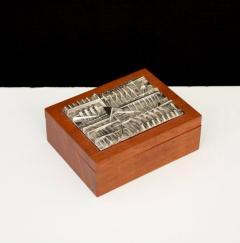 Arnaldo Pomodoro ARNALDO POMODORO ITALIAN SILVER PLATED BRONZE SCULPTURAL TOP AND TEAK BOX - 1672598