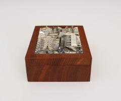Arnaldo Pomodoro ARNALDO POMODORO ITALIAN SILVER PLATED BRONZE SCULPTURAL TOP AND TEAK BOX - 1672602