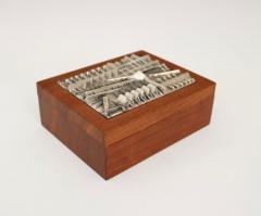 Arnaldo Pomodoro ARNALDO POMODORO ITALIAN SILVER PLATED BRONZE SCULPTURAL TOP AND TEAK BOX - 1672604