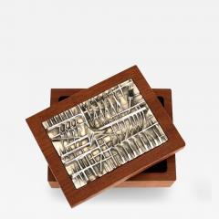Arnaldo Pomodoro ARNALDO POMODORO ITALIAN SILVER PLATED BRONZE SCULPTURAL TOP AND TEAK BOX - 1673616