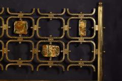 Arnaldo Pomodoro Osvaldo Borsani Elegant Bed with Brass Details by Arnaldo Pomodoro 1950 - 1910397