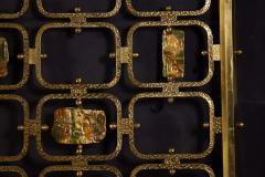 Arnaldo Pomodoro Osvaldo Borsani Elegant Bed with Brass Details by Arnaldo Pomodoro 1950 - 1910398