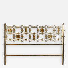 Arnaldo Pomodoro Osvaldo Borsani Elegant Bed with Brass Details by Arnaldo Pomodoro 1950 - 1912146