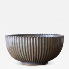 Arne Bang Arne Bang Mid Century Scandinavian Ribbed Ceramic Bowl 1930s - 948221