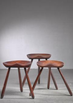 Arne Hovmand Olsen Arne Hovmand Olsen set of three tripod stools - 1640917