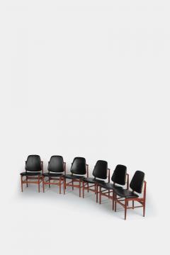 Arne Hovmand Olsen Set with 6 chairs Arne Hovmand Olsen 50s teak leather - 1719847