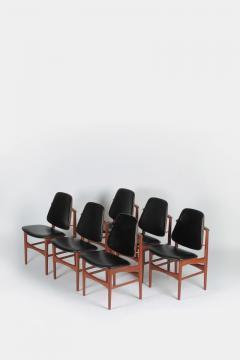 Arne Hovmand Olsen Set with 6 chairs Arne Hovmand Olsen 50s teak leather - 1719848