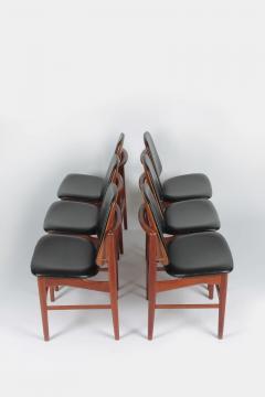 Arne Hovmand Olsen Set with 6 chairs Arne Hovmand Olsen 50s teak leather - 1719849