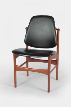 Arne Hovmand Olsen Set with 6 chairs Arne Hovmand Olsen 50s teak leather - 1719850