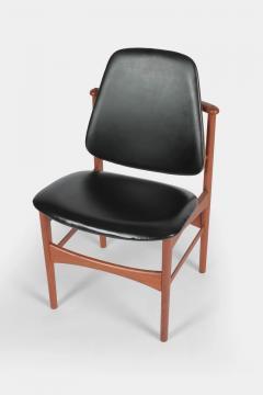 Arne Hovmand Olsen Set with 6 chairs Arne Hovmand Olsen 50s teak leather - 1719851