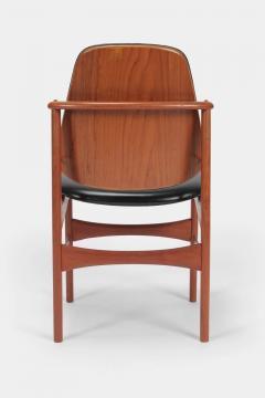Arne Hovmand Olsen Set with 6 chairs Arne Hovmand Olsen 50s teak leather - 1719855