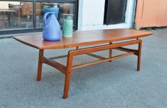 Arne Hovmand Olsen Stunning Teak Coffee Table w Cane Shelf by Hovmand Olsen for Mogens Kold - 2133682