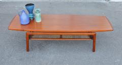 Arne Hovmand Olsen Stunning Teak Coffee Table w Cane Shelf by Hovmand Olsen for Mogens Kold - 2133717