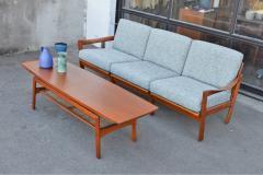 Arne Hovmand Olsen Stunning Teak Coffee Table w Cane Shelf by Hovmand Olsen for Mogens Kold - 2133719