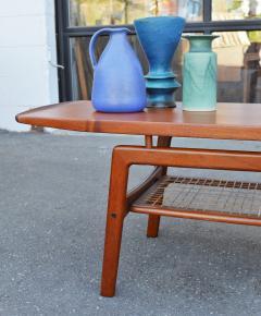 Arne Hovmand Olsen Stunning Teak Coffee Table w Cane Shelf by Hovmand Olsen for Mogens Kold - 2133724