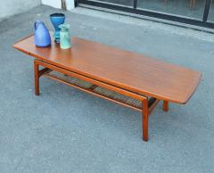 Arne Hovmand Olsen Stunning Teak Coffee Table w Cane Shelf by Hovmand Olsen for Mogens Kold - 2133733
