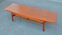 Arne Hovmand Olsen Stunning Teak Coffee Table w Cane Shelf by Hovmand Olsen for Mogens Kold - 2133736