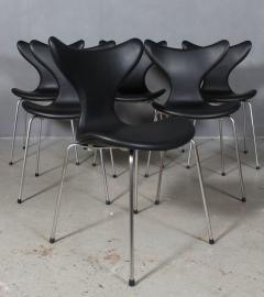 Arne Jacobsen Arne Jacobsen set of six 3108 Liljen Chairs aniline leather - 2050120