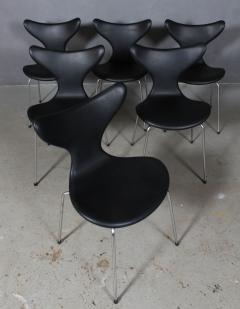 Arne Jacobsen Arne Jacobsen set of six 3108 Liljen Chairs aniline leather - 2050121