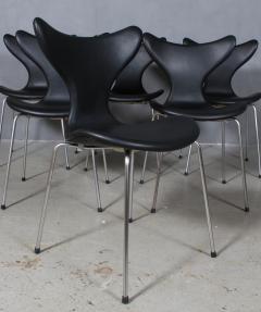 Arne Jacobsen Arne Jacobsen set of six 3108 Liljen Chairs aniline leather - 2050122