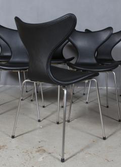 Arne Jacobsen Arne Jacobsen set of six 3108 Liljen Chairs aniline leather - 2050127