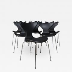 Arne Jacobsen Arne Jacobsen set of six 3108 Liljen Chairs aniline leather - 2051391