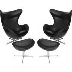 Arne Jacobsen Early Arne Jacobsen Egg Chair w Ottoman Black Leather Pr  - 313352