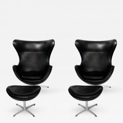 Arne Jacobsen Early Arne Jacobsen Egg Chair w Ottoman Black Leather Pr  - 313409