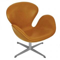 Arne Jacobsen Pair of Original Swan Chairs by Arne Jacobsen in Saddle Tan Leather - 181715