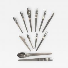 Arne Jacobsen Set of 78 Pieces Modern Arne Jacobsen Stainless Steel AJ Flatware George Jensen - 674001