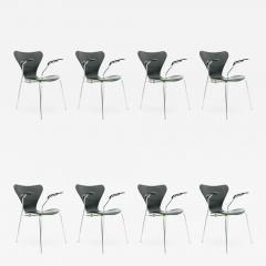 arne jacobsen set of eight black arne jacobsen chairs with