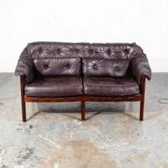 Arne Norell Arne Norell Rosewood and Leather Loveseat - 1696309