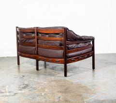 Arne Norell Arne Norell Rosewood and Leather Loveseat - 1696312