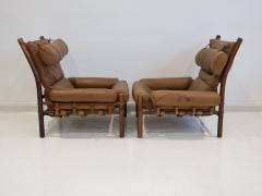 Arne Norell Pair of Arne Norell Brown Leather Inca Lounge Chairs - 1168534