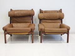 Arne Norell Pair of Arne Norell Brown Leather Inca Lounge Chairs - 1168535