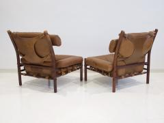 Arne Norell Pair of Arne Norell Brown Leather Inca Lounge Chairs - 1168537