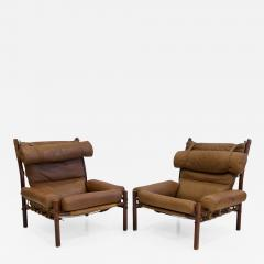 Arne Norell Pair of Arne Norell Brown Leather Inca Lounge Chairs - 1179110