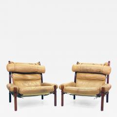 Arne Norell Two Inca Lounge Safari Chairs In Leather By Arne Norell   471707