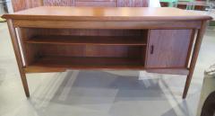 Arne Vodder Danish Modern Teak Desk with Bookcase Back Arne Vodder - 666451