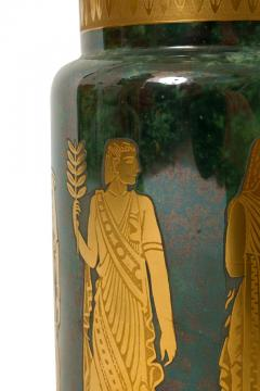 Arrigo Finzi Arrigo Finzi Greco Roman Motif Gold Porcelain Vase for Oro Zecchino - 1197384