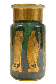 Arrigo Finzi Arrigo Finzi Greco Roman Motif Gold Porcelain Vase for Oro Zecchino - 1197385