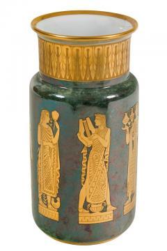 Arrigo Finzi Arrigo Finzi Greco Roman Motif Gold Porcelain Vase for Oro Zecchino - 1197386