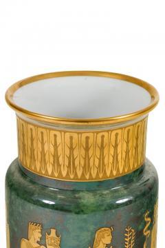 Arrigo Finzi Arrigo Finzi Greco Roman Motif Gold Porcelain Vase for Oro Zecchino - 1197388